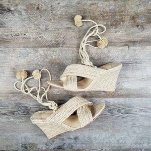 Isa Tapia Holly Braided Jute Wedge Sandal US 9.5